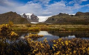 Picture snow, mountains, nature, lake, Iceland