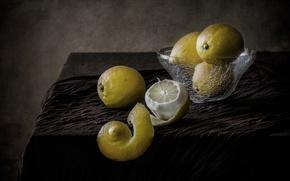 Picture still life, lemons, peel