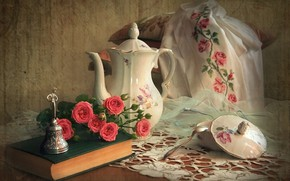 Picture roses, spoon, book, pitcher, bell