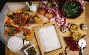Picture greens, mushrooms, Italy, tomatoes, flour, Pizza