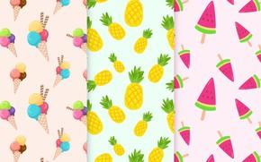 Wallpaper vector, texture, fruit, fruit, ice cream, Patterns