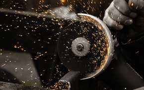 Wallpaper metal, Bulgarian, LBM, momentum, sparks, Angle grinder, metal, the cutoff wheel, Man at work, speed, ...