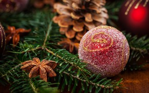 Wallpaper holiday, toy, new year, ball, spruce, cinnamon