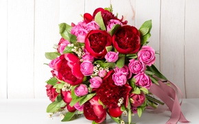 Picture flowers, red, pink, roses, bouquet, tape, peonies