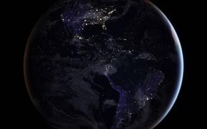 Wallpaper planet, North America, South America, mainland, Earth, lights