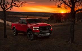 Picture sunset, Dodge, pickup, 1500, Ram, 2019, Rebel Quad Cab