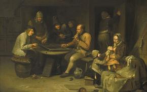 Picture picture, genre, Egbert van Heemskerck, Backgammon players at the Hotel
