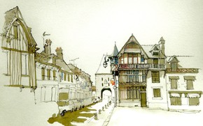 Picture the city, figure, France, home, watercolor, Sea-sur-loan