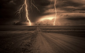 Picture road, the storm, night