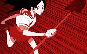 Picture chase, shovel, black hair, art, Sayonara Zetsubou Sensei, dull teacher, Goodbye, obsessed, Chiki Kitsu, Hideyuki …