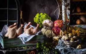 Picture eggs, chicken, bow, spices, broccoli