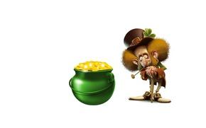 Picture gold, minimalism, pot, Leprechaun