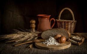 Picture basket, eggs, bread, ears, cakes, flour
