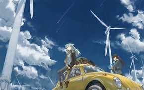 Picture the sky, girls, anime, art, tommy830219