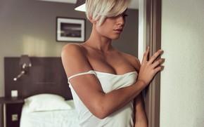 Wallpaper model, sexy, David Ben-Haim, bedroom, in white, hairstyle, bokeh, makeup, Ben haïm David, beauty, blonde