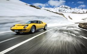 Picture Color, Auto, Road, Mountains, Yellow, Lamborghini, Rocks, Snow, Machine, Speed, Movement, 1971, Lights, Landscape, Car, …