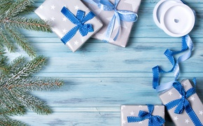 Wallpaper New Year, Christmas, blue, merry christmas, bow, decoration, gifts