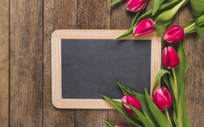 Picture flowers, frame, tulips, Board, pink, fresh, wood, pink, flowers, tulips, spring