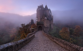 Wallpaper castle, autumn, Germany, fog, haze, ELTZ