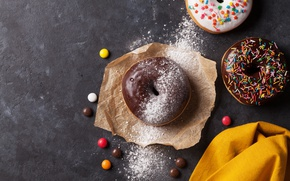 Picture donuts, glaze, powder, donuts, chocalate