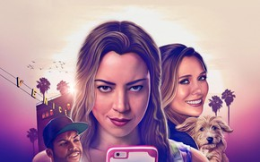 Wallpaper cinema, girl, dog, man, movie, blonde, film, smartphone, Elizabeth Olsen, Aubrey Plaza, Ingrid Goes West, ...