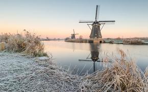 Picture winter, morning, sunrise, dawn, Netherlands, canal, Molenwaard, Kinderdijk, windmills