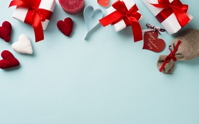 Picture love, background, holiday, gift, candles, hearts, Valentine's day