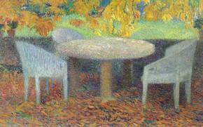 Picture furniture, picture, genre, Henri-Jean Guillaume Martin, Henri Matrin, A big Table under a Chestnut tree