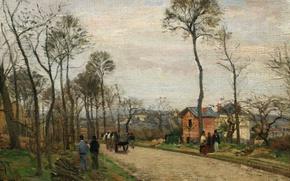 Picture landscape, picture, Camille Pissarro, The road to Louveciennes