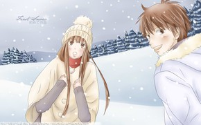 Picture winter, anime, art, two, kimi ni todoke