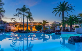Picture stones, palm trees, the evening, pool, the hotel, resort, Spain, sunbeds, The Canary Islands, Playa …