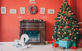 Picture decoration, toys, tree, New Year, Christmas, gifts, fireplace, Christmas, design, Merry Christmas, Xmas, interior, home, …