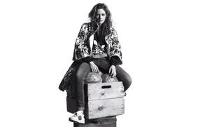 Wallpaper jeans, makeup, jacket, hairstyle, white background, black and white, boxes, Kristen Stewart, Kristen Stewart, sitting, ...