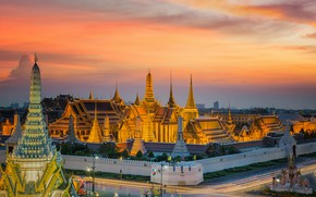 Wallpaper sunset, Thailand, Bangkok, Bangkok, megapolis, the evening