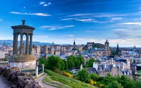 Wallpaper monument, stones, grass, the sky, clouds, Scotland, Edinburgh, Edinburgh, view, Scotland, panorama, trees, home, Calton ...