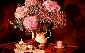 Picture Flowers, Figure, Bouquet, Cup, Art, Art, Dishes, Flowers, Still life, hydrangea, Bouquet, Still Life, Hortensia