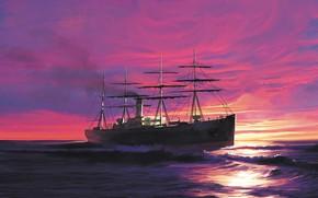 Picture wave, ship, atlantic, Transatlantic Ships