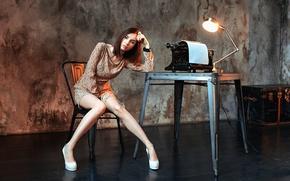 Wallpaper Dasha, Dashuta Berezina, girl, typewriter, lamp, legs, table, room