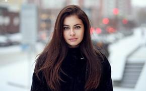 Wallpaper coat, makeup, bokeh, hairstyle, beauty, snowflakes, Dmitry Arhar, brown hair, winter, Alina, portrait