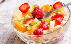 Picture kiwi, strawberry, fruit, banana, salad