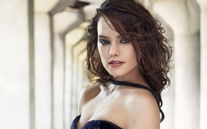 Picture makeup, actress, brunette, hairstyle, photoshoot, Daisy Ridley, Daisy Ridley