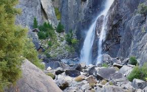 Wallpaper USA, stones, CA, rocks, Yosemite national Park, Yosemite, waterfall, mountains
