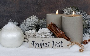 Picture snow, holiday, new year, candles, decor