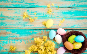 Picture flowers, basket, eggs, spring, colorful, Easter, wood, pink, flowers, tulips, spring, Easter, eggs, decoration, Happy, …