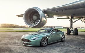 Wallpaper airplane, turbine, Vantage, Aston martin