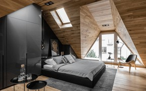 Picture lamp, bed, picture, chair, window, wardrobe, design, interior, attic, bedroom, the apartment is in the …