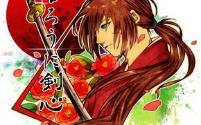 Picture Japan, rose, flower, anime, katana, ken, blade, samurai, asian, kimono, hana, scar, hitokiri, Samurai X, …