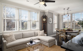 Picture design, table, sofa, watch, window, living room