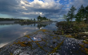 Picture nature, fog, stones, North, Ladoga