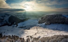 Wallpaper winter, mountains, morning